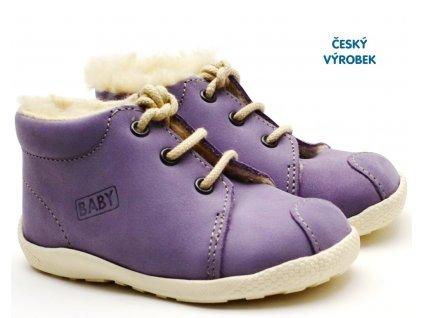 Zimní capáčky VELETA 027 fialové