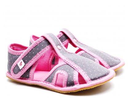 Dětské barefoot bačkory EF BAREFOOT 386 Kropki