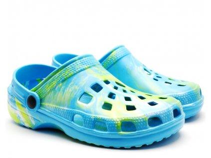 Clog Sandály 54-0615-Y1 modrozelené