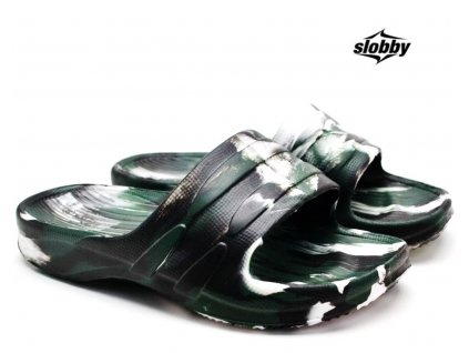 Dětské pantofle SLOBBY 182-0000 zelenobílé