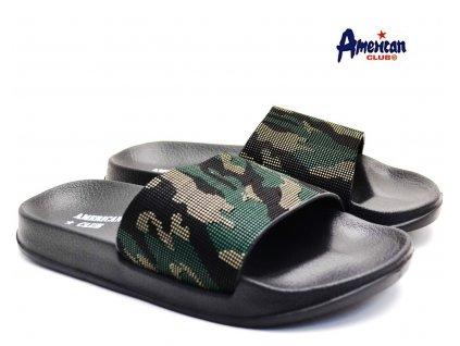 Pantofle American Club 116108 zelenočerné