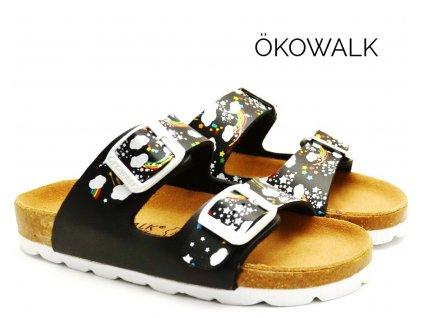 Dětské pantofle OKOWALK RAINBOW BLACK