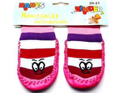 Ponožky s kůží BABYS 3140 růžová očička