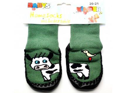 Ponožky s kůží Socks 4 fun - tm. zelená kravička