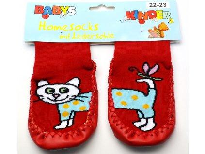 Ponožky s kůží Socks 4 fun - červená kočka