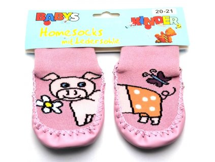 Ponožky s kůží - růžové prasátko