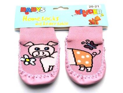 Ponožky s kůží Socks 4 fun - růžové prasátko