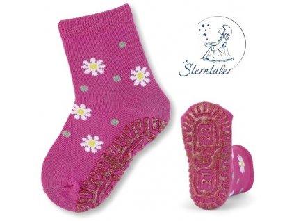 STERNTALER 8021810 Protiskluzové ponožky kytičky