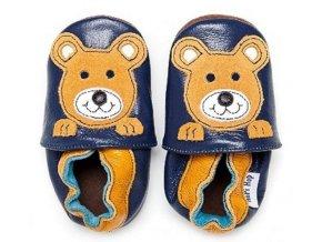 Kožené capáčky HOPI HOP Medvídek na modré