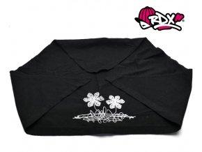 RDX šátek 2184 Květy - černá