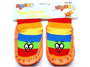 Ponožky s kůží BABYS 3140 oranžová očička