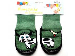 Ponožky s kůží - tm. zelená kravička