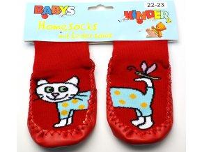 Ponožky s kůží - červená kočka