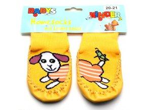 Ponožky s kůží - žlutá ovečka