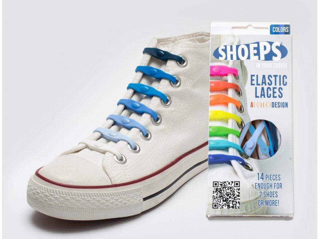 SHOEPS Mix blue silikonové tkaničky