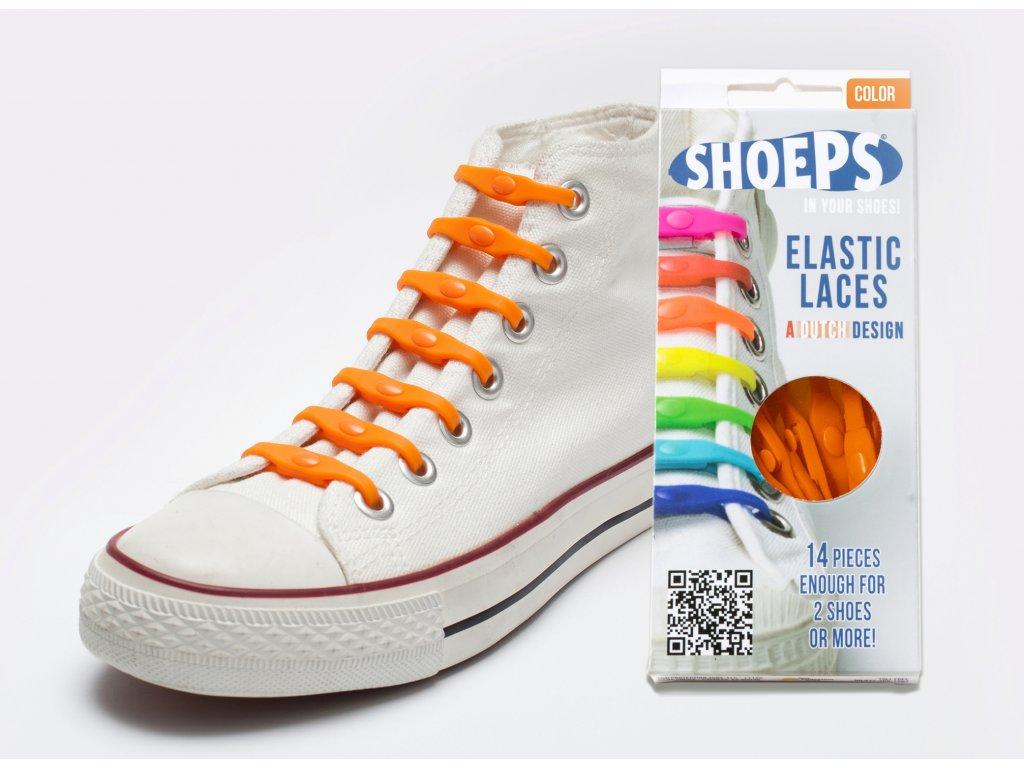 SHOEPS Orange dutch silikonové tkaničky