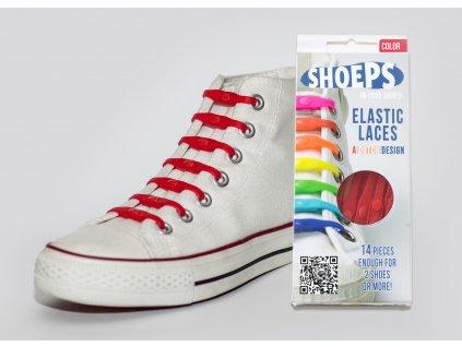 SHOEPS Red silikonové tkaničky