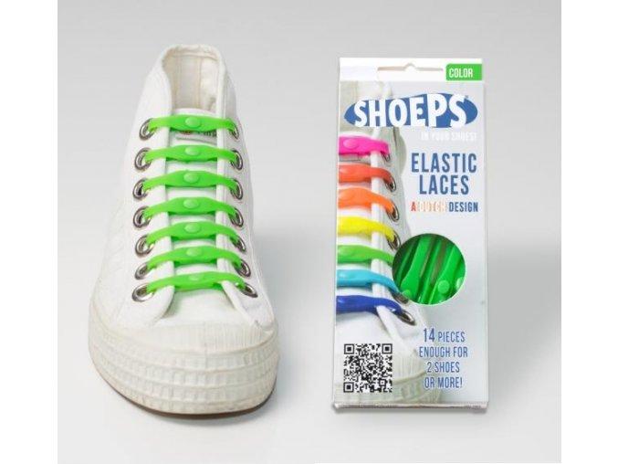 SHOEPS Green silikonové tkaničky