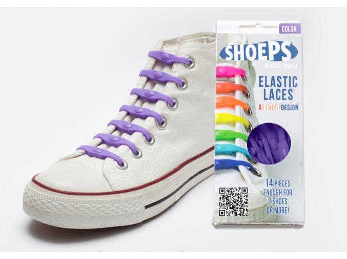 SHOEPS Purple silikonové tkaničky