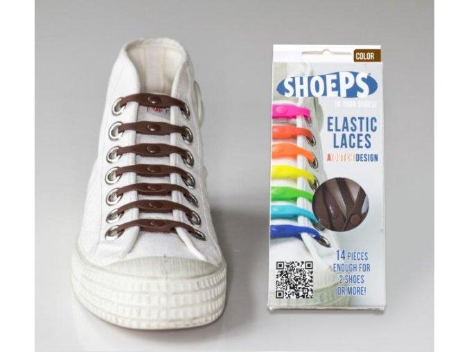 SHOEPS Brown silikonové tkaničky