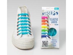 SHOEPS Aqua blue silikonové tkaničky