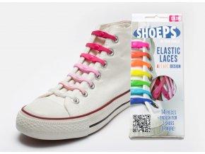 SHOEPS Mix pink silikonové tkaničky