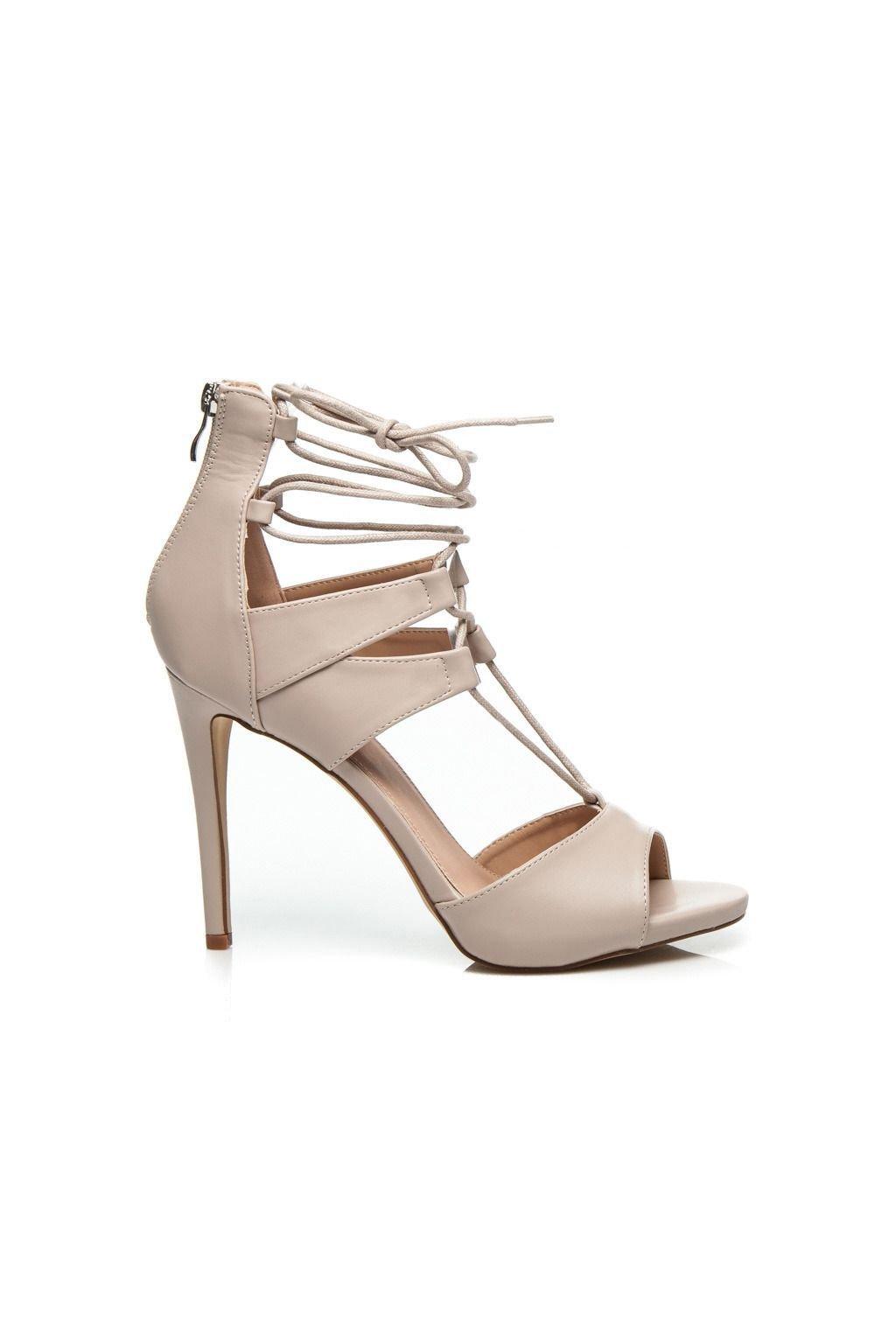 Sexy béžové sandály s vázáním