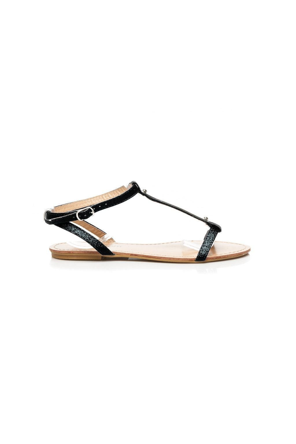 Nízké černé sandály s brokátem