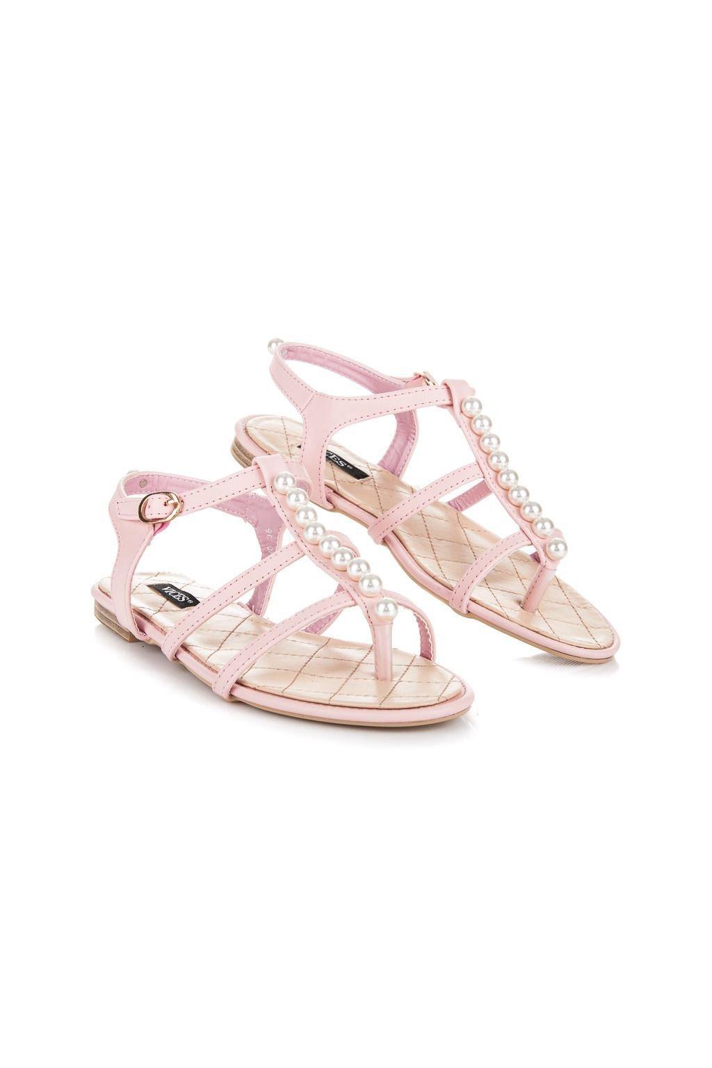 Nízké růžové sandály s korálky