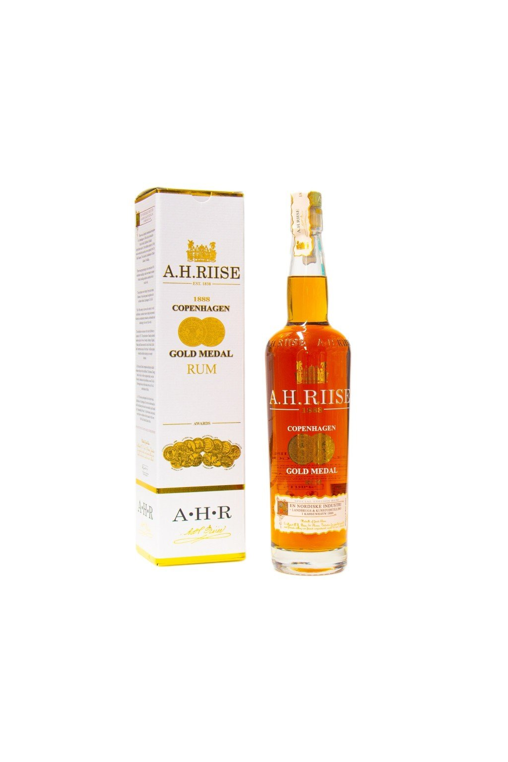 a h riise 1888 gold medal premium rum 40 07l