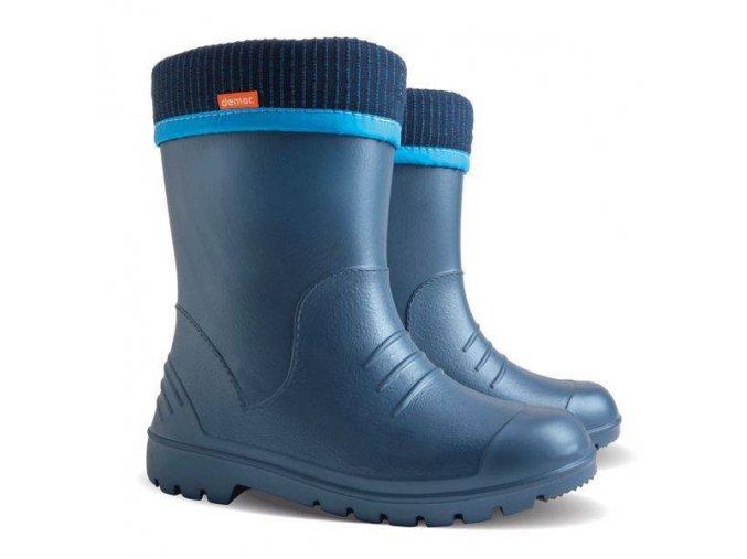 DEMAR - Chlapecké zateplené holínky DINO 0310 D modré