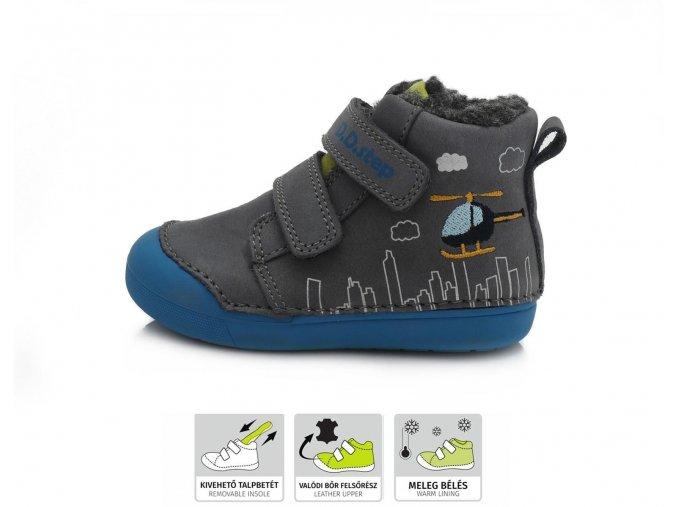 dětské zimní boty D.D.step, zimní barefoot boty, ddstep zimní, D.D.Step zimní boty 066-806 grey, zimní boty akce, zimní boty ddstep velikost 25