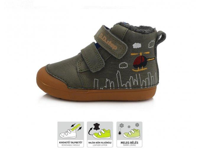 D.D.Step zimní boty 066-806 khaki, dětské zimní boty D.D.step, zimní barefoot boty, ddstep zimní, zimní boty akce, zimní boty ddstep velikost 25