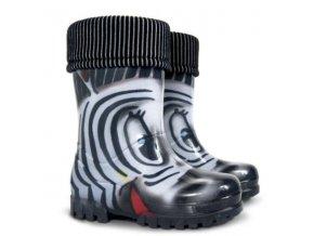 DEMAR - Dětské zateplené holinky TWISTER LUX PRINT 0039 S zebra
