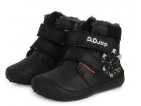 dětské zimní boty D.D.step, zimní barefoot boty, ddstep 063-915M Black, zimní boty akce, zimní boty ddstep velikost 29