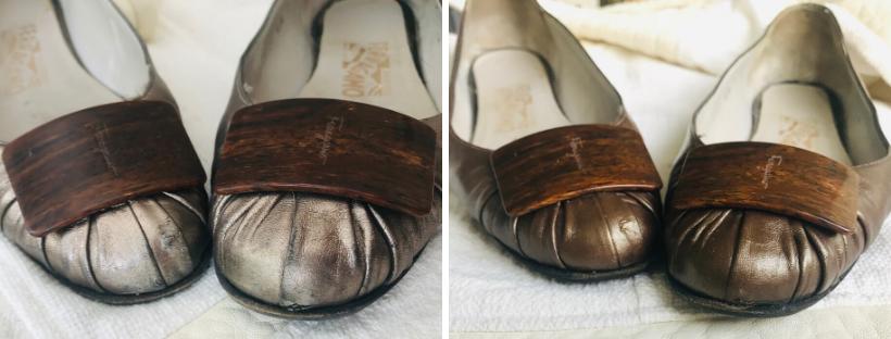 Bronzová barva na boty opravila kožené balerínky