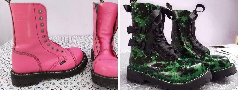 Kreativní dekorace bot s barvícím sprejem