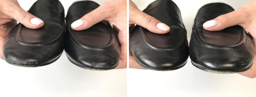 Odřené špičky kožených bot a jejich oprava krémem