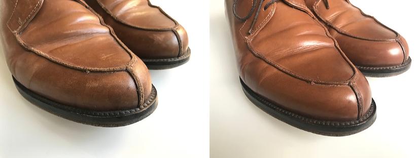 Renovace odřených špiček kožených bot