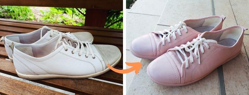 Přebarvení starších bílých kožených tenisek na světle růžovou barvu