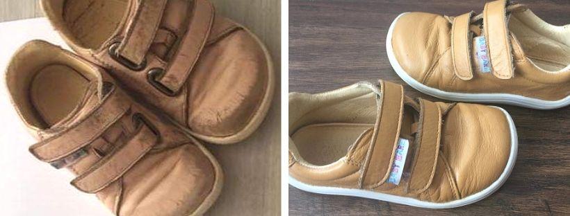 Renovace barvy dětských béžových botiček
