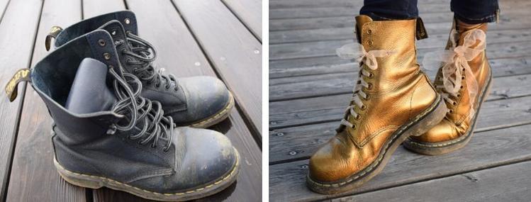 Zimní kožené boty a jejich oprava a přebarvení na zlatou barvu
