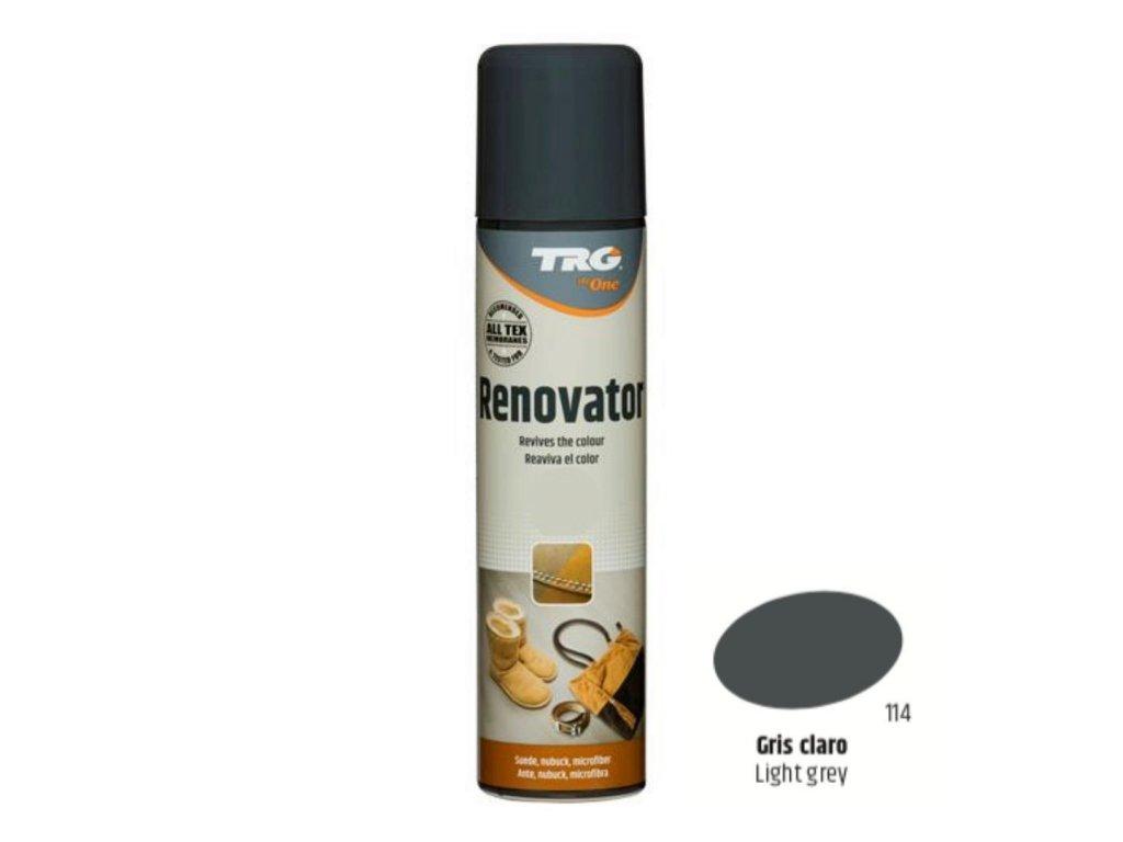 Šedý Sprej na semiš Suede Renovator TRG Light Gray 114 sedy sprej na semis