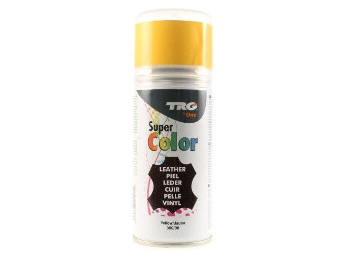 Žlutá Barva na kůži ve spreji Super Color TRG Yellow 360 zluty sprej na boty barveni renovace