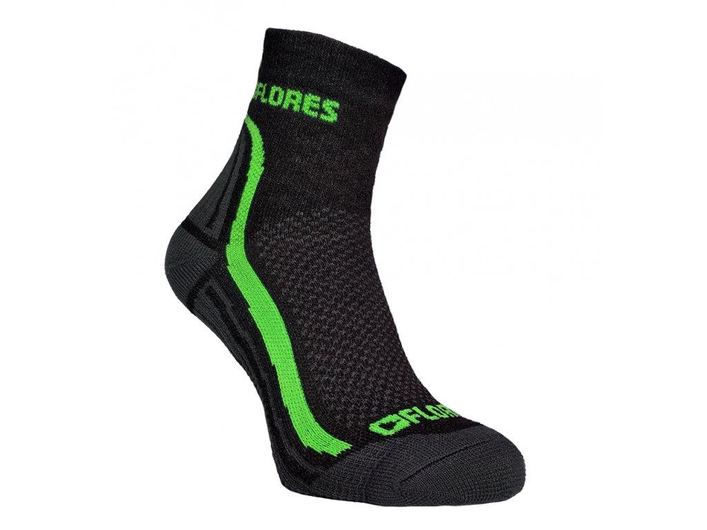 Funkční ponožky FLORES Active - černá/neon zelená