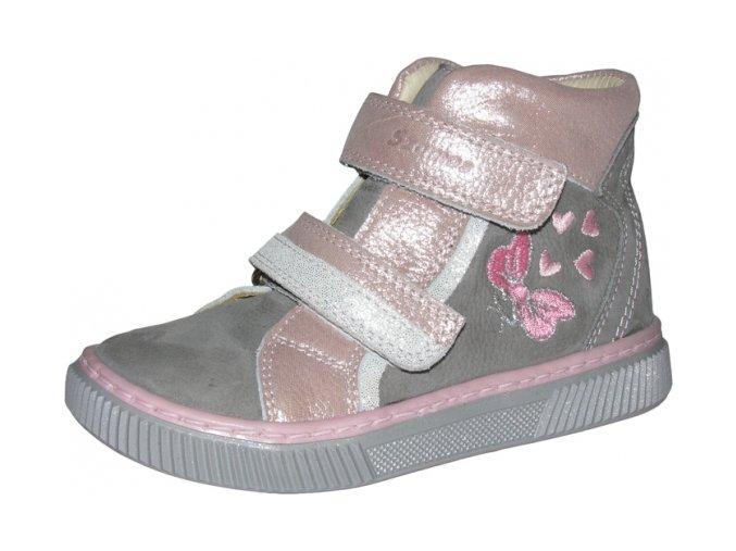 Celoroční obuv Szamos 1492-501772 šedorůžová s mašlí