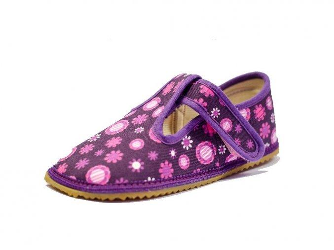 Papuče Beda barefoot fialové kytky