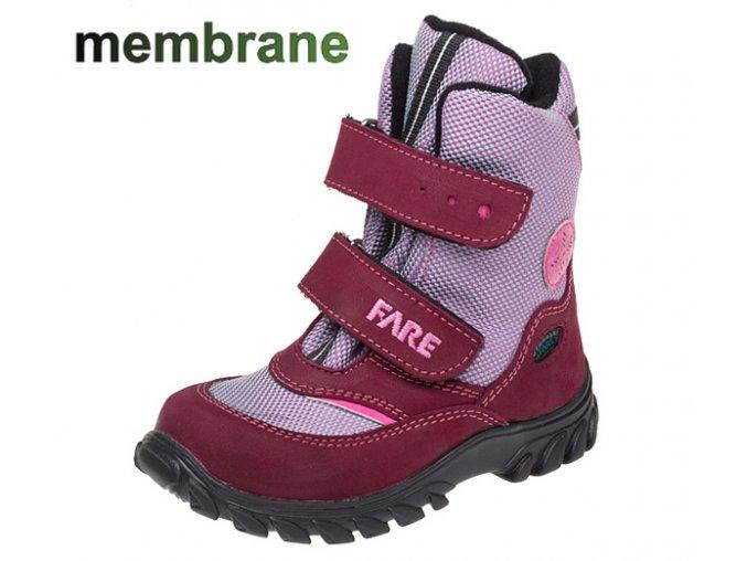Dětské zimní nepromokavé boty Fare  848192 s membránou,červené