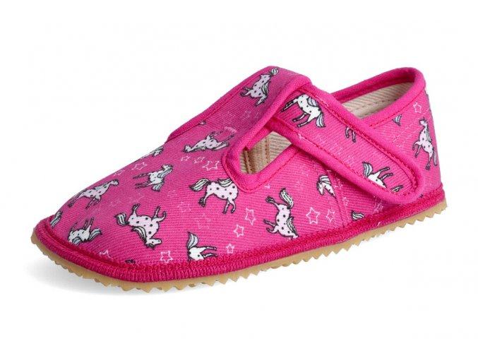 Papuče Beda růžový koník - slim verze