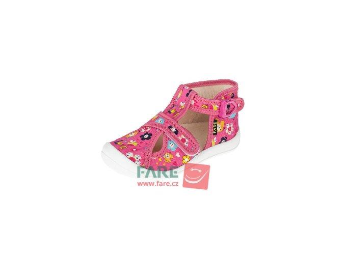 papuče Fare 4119442 dívčí se sponou a suchým zipem